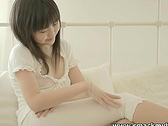 Nasty Asian teen Aliona undresses and..