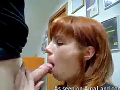 Redhead slut is giving a a deep throat..
