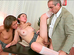 Hot FFM threesome banging with dirty blowjob and rough fucking