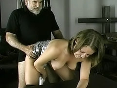 Young lady being fucked in her pussy by old fart