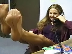 Sexy secretary takes off her nice nylons