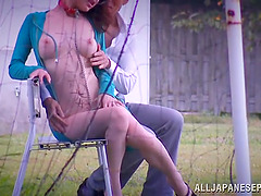 Outdoor blowjob scene with Japanese..