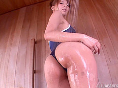 Japanese skank shows her butt and toys..