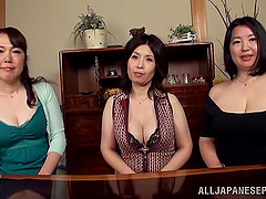 Three busty Japanese moms let a man..