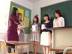 A Japanese teacher gets pounded on a..
