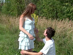 Redhead teen's fucked silly outdoors..