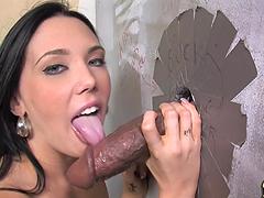 Super hot brunette is blowing a huge..