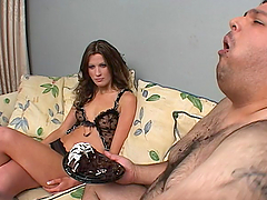 Nadia Rio rides a cock in a messy food..