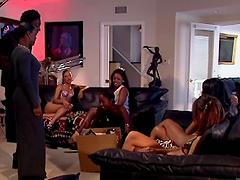 Lesbian orgy among gorgeous ebony babes
