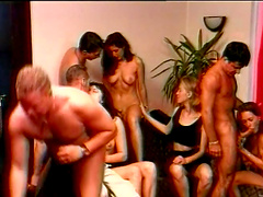 Vintage orgy among horny guys and sexy..