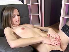 Skinny bitch using a pussy pump