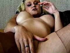 Perky boobs blonde in seamed pantyhose