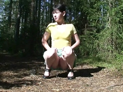 Short skirt on a sweet girl pissing