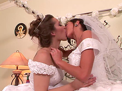 Lesbian brides fuck one another on..