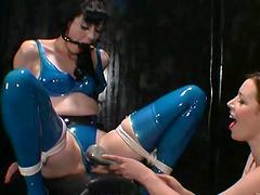 Lesbian bitches in latex having sex..