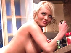 Hanna Hilton solo striptease in kitchen