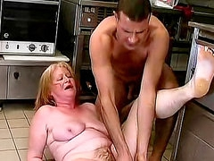Food fuck and blowjob with mature