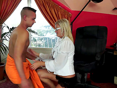 A warm creampie for a blonde mature..