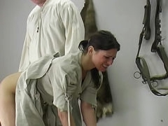 Colonial girl cries during her spanking