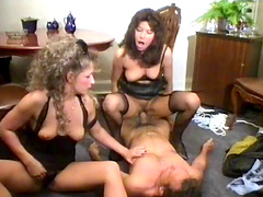 Amazing retro threesome with two milfs