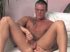 Firm body gay guy jerks off his cock