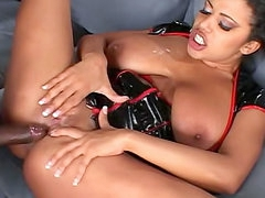 Black dick inside of the hot latex nurse