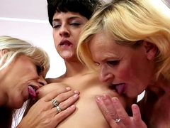 Mature and young lesbian threesome video