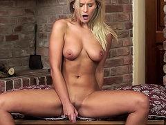 Solo big natural tits girl masturbates..