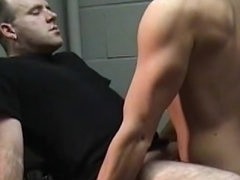 Bald guy bends over for gay stud