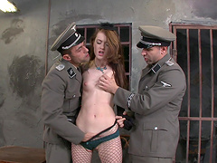 Misha Cross is fucked by two officers..