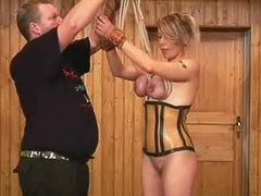 Nipple torture for corset girl