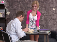 Pretty Janna gets her teen pussy and..