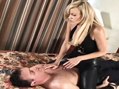 Leather mistress spanks him in hotel..
