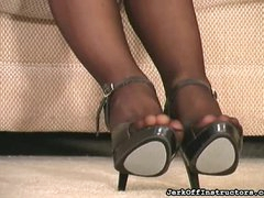 Solo strapon play and pantyhose tease