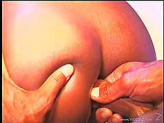 Ebony bitch gets all her holes fucked..