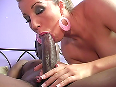 Nasty blonde sucks a BBC and enjoys..