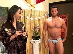 Masseuse Katsuni is fucked by one of..