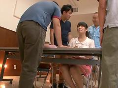 Gangbang scene leaves Azusa Ishihara..