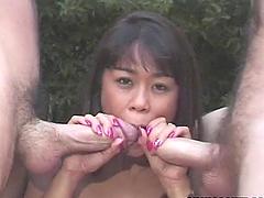 Asian Slag Enjoys Two Cocks.