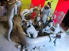 Huge mud wrestling party