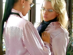 Girls in striped blouses have sex