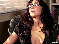 Busty brunette teacher Diana Prince..
