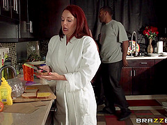 Oiled up Janet Mason gets banged by..