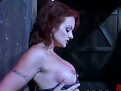 Monica Mayhem plays with a pump and a..