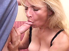 Horny blonde mom blows and gets her..