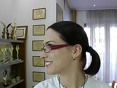 Small Tits And Glasses Brunette Loves..