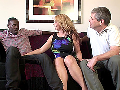 Milf and his husband share a huge black cock