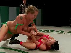 Female Wrestling Newbie Learns A Thing..