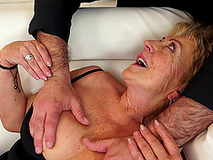 Horny grandma gives a blowjob and gets..