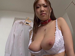 Asian with big tits enjoys a..